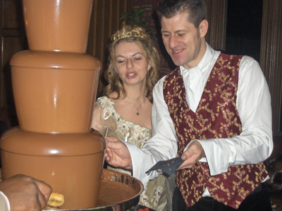 The happy couple, sharing as always, congratulations to you both from Chocolate Fountains of Devon.